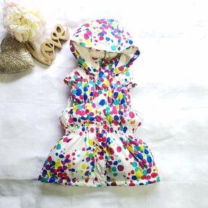 GYMBOREE Girl's Multi-Colored Dots Hooded Vest L